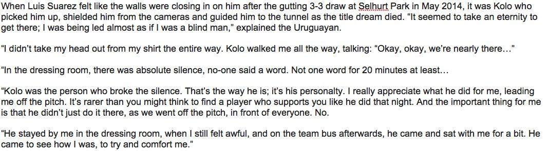 Luis Suarez on Kolo Toure...   #LFC https://t.co/KfWvIlMQ6C