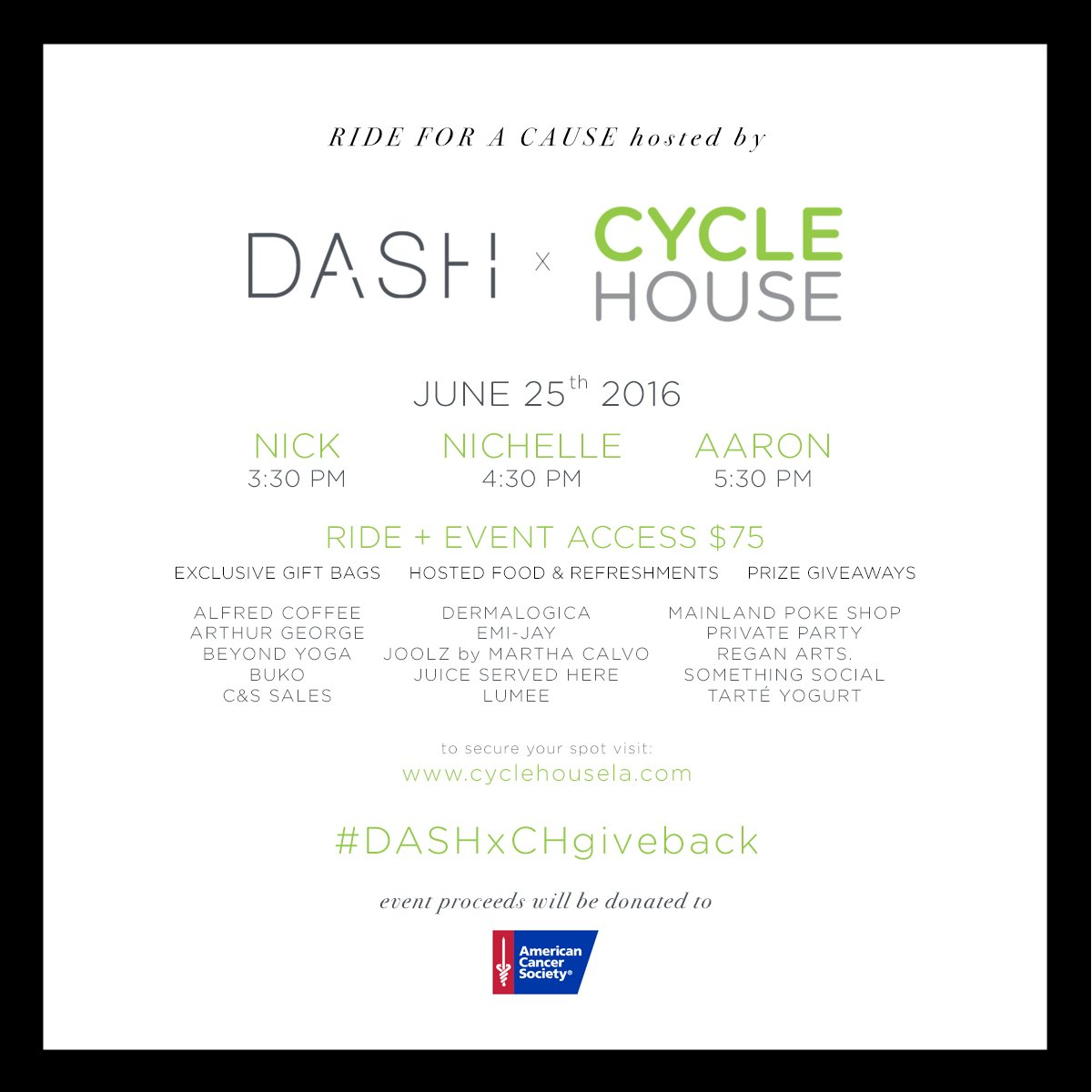 If you're in LA, sign up for @dashboutique's 'Ride for a Cause' to benefit @AmericanCancer https://t.co/shJBmUCjzW https://t.co/XX8kg7HMNX