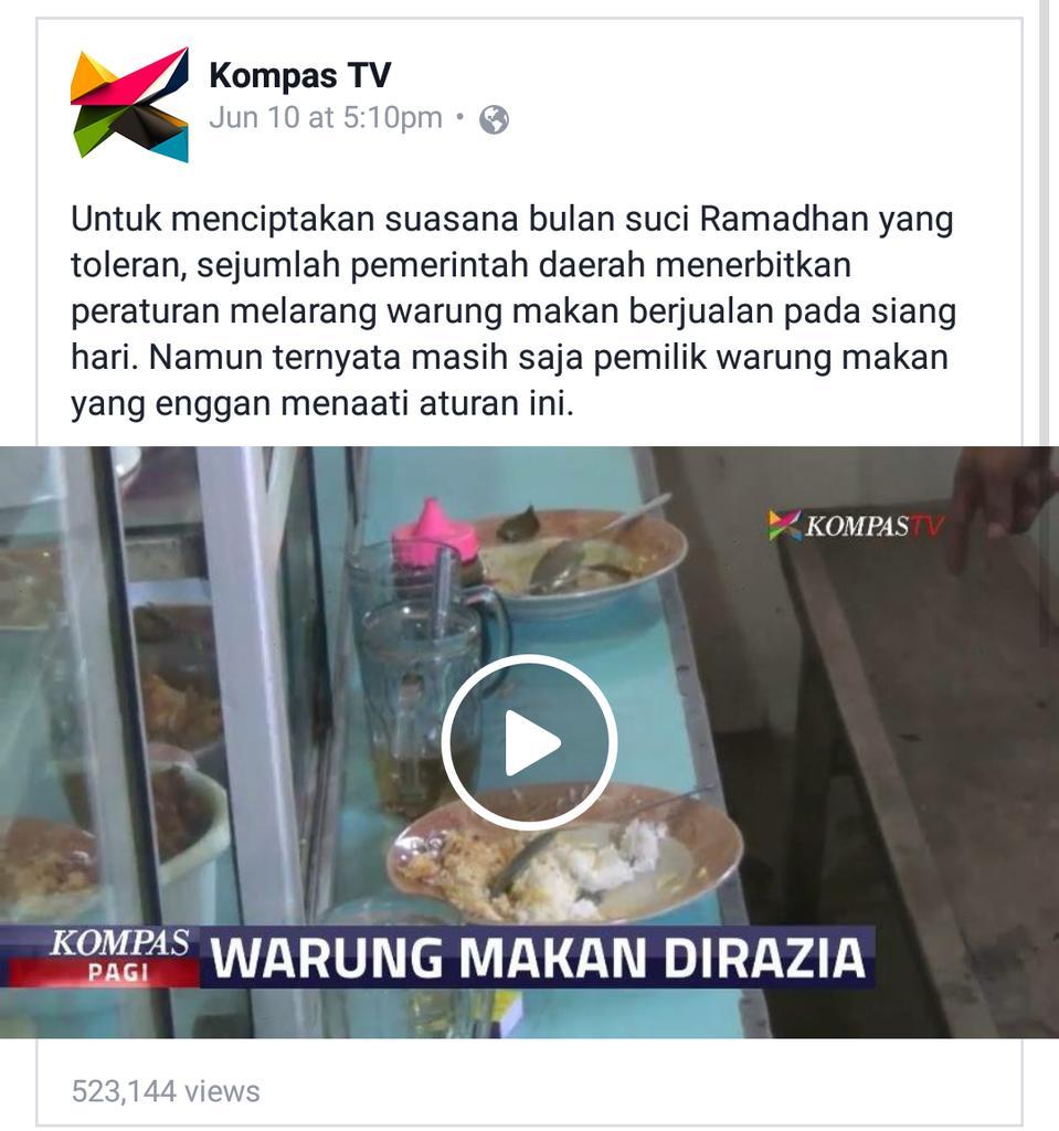 """Baca caption ini, saya melihatnya @KompasTV mengamini konsep """"menciptakan suasana toleran"""" dengan cara intoleran. https://t.co/Sbe5HHN7qS"""