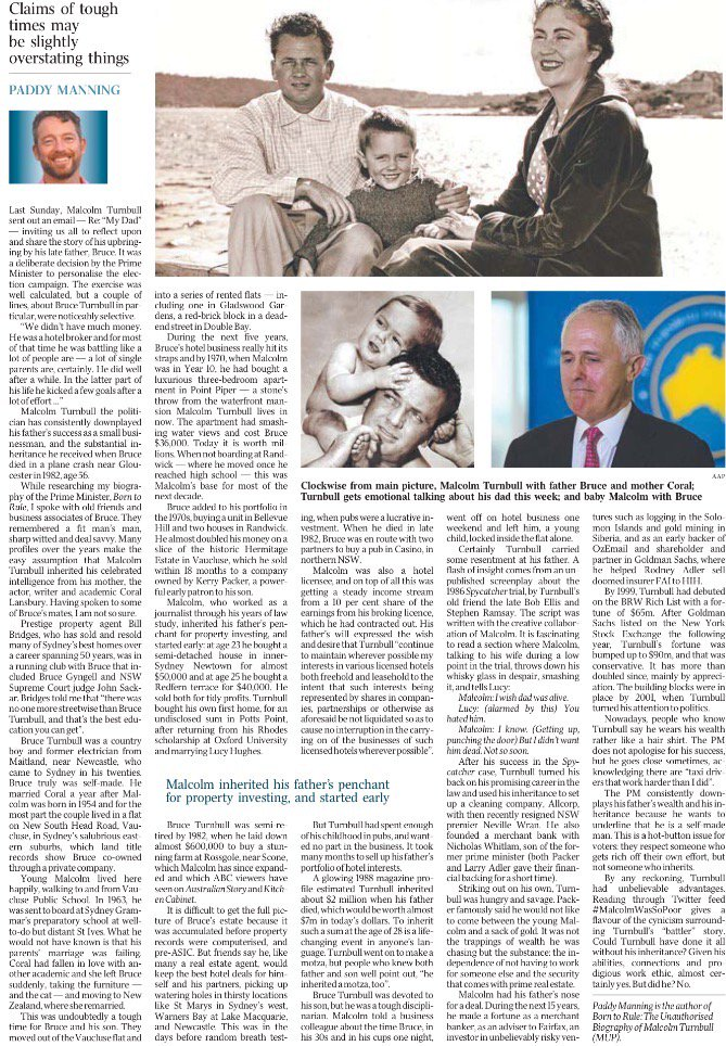"""Great piece by @gpaddymanning on Turnbull's inheritance and his """"we didn't have much money"""" claim #auspol https://t.co/vtY4iH9Rbx"""