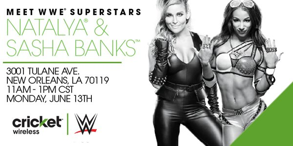 .@WWE fans—visit us in #NOLA to meet @NatbyNature & @SashaBanksWWE Mon., 6/13 @ 11AM-1PM! https://t.co/ptL39975n9 https://t.co/wNmwLcU0hv