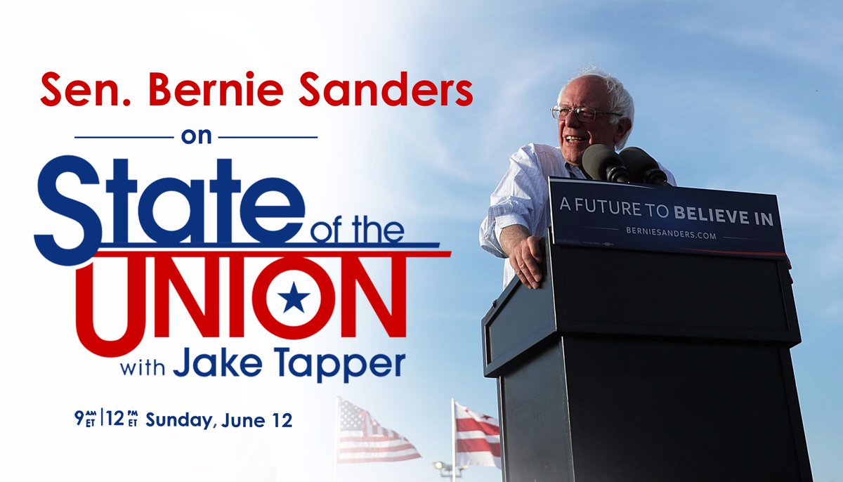 This Sunday on #CNNSOTU: @BernieSanders joins @jaketapper just days after meeting with President Obama. https://t.co/yUh9VW96Cr
