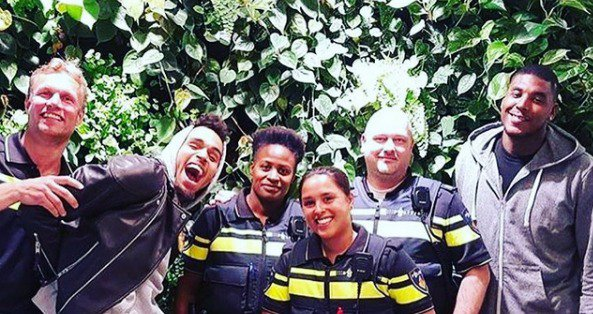 Chris Brown had a run-in with the Amsterdam police, and they were