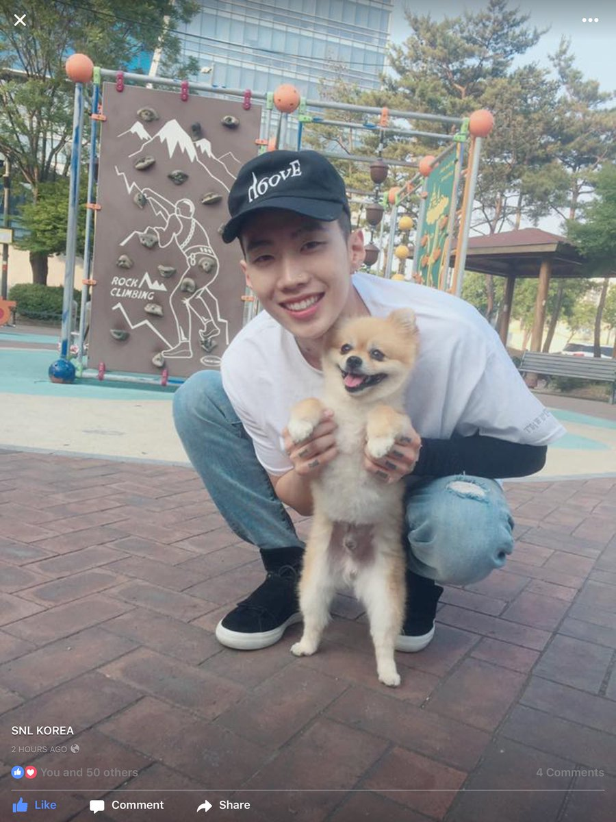 This might be the cutest thing you've seen all day - #JayPark with a puppy