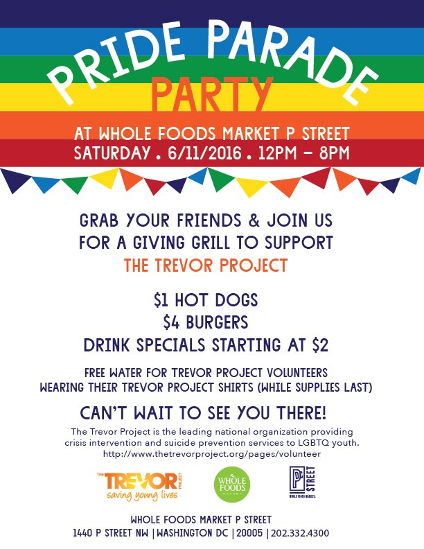 @WholeFoodsDC is celebrating #dcpride tomorrow with proceeds going to @TrevorProject! https://t.co/m9Gwsin0I3