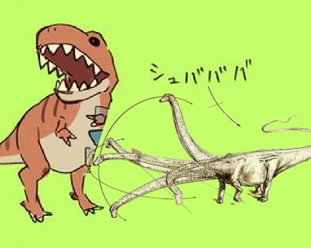 先日見かけたこの竜脚類の絵がシ...