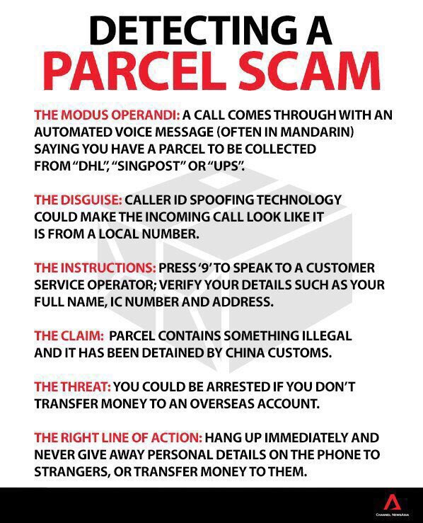 What do you do when you receive a phone call claiming that you've got a parcel? Here's @ChannelNewsAsia guide. https://t.co/wYhwFQGzN4