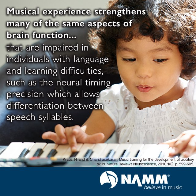 Musical experience strengthens the same aspects of brain function that are impaired in those w learning difficulties https://t.co/XEbELfveoK