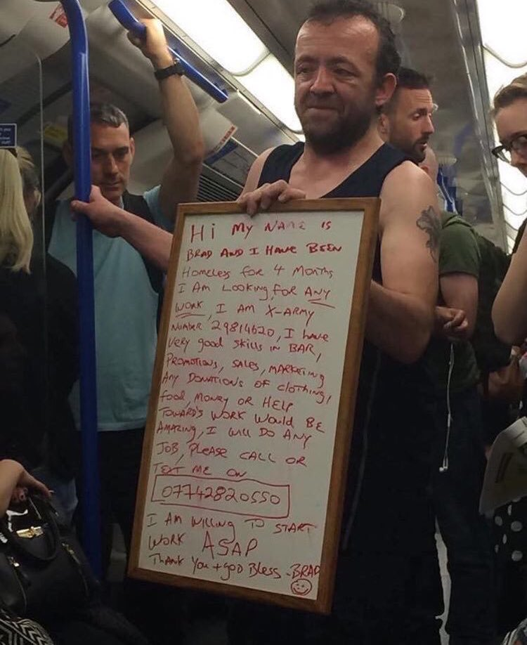 Can we make this man go viral & someone somewhere help him.  God bless you Brad