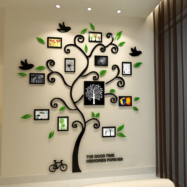 Дерево с фоторамками на стене своими руками