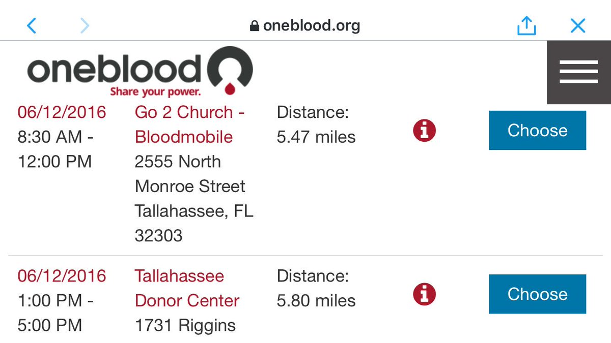 Here are the two Tallahassee donation locations for @my1blood open today: https://t.co/NWPVbQDXFN