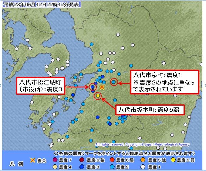 NHKで出ていた、八代市役所からの電話で「八代市は広いので震度もまちまち」って言ってたので、 https://t.co/DSQXP0SgXi (添付図はこれに加筆) で見たら確かにそうで。市内で震度5弱~1までと広い分布。 https://t.co/tDCX0hD9tj