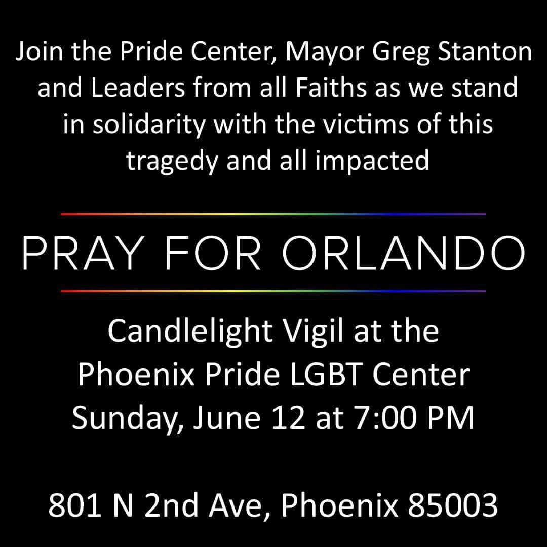Phoenix stands with Orlando. Multi-faith vigil 7 pm tonight for victims of this morning's horrific mass shooting. https://t.co/gPLrjtiz1S