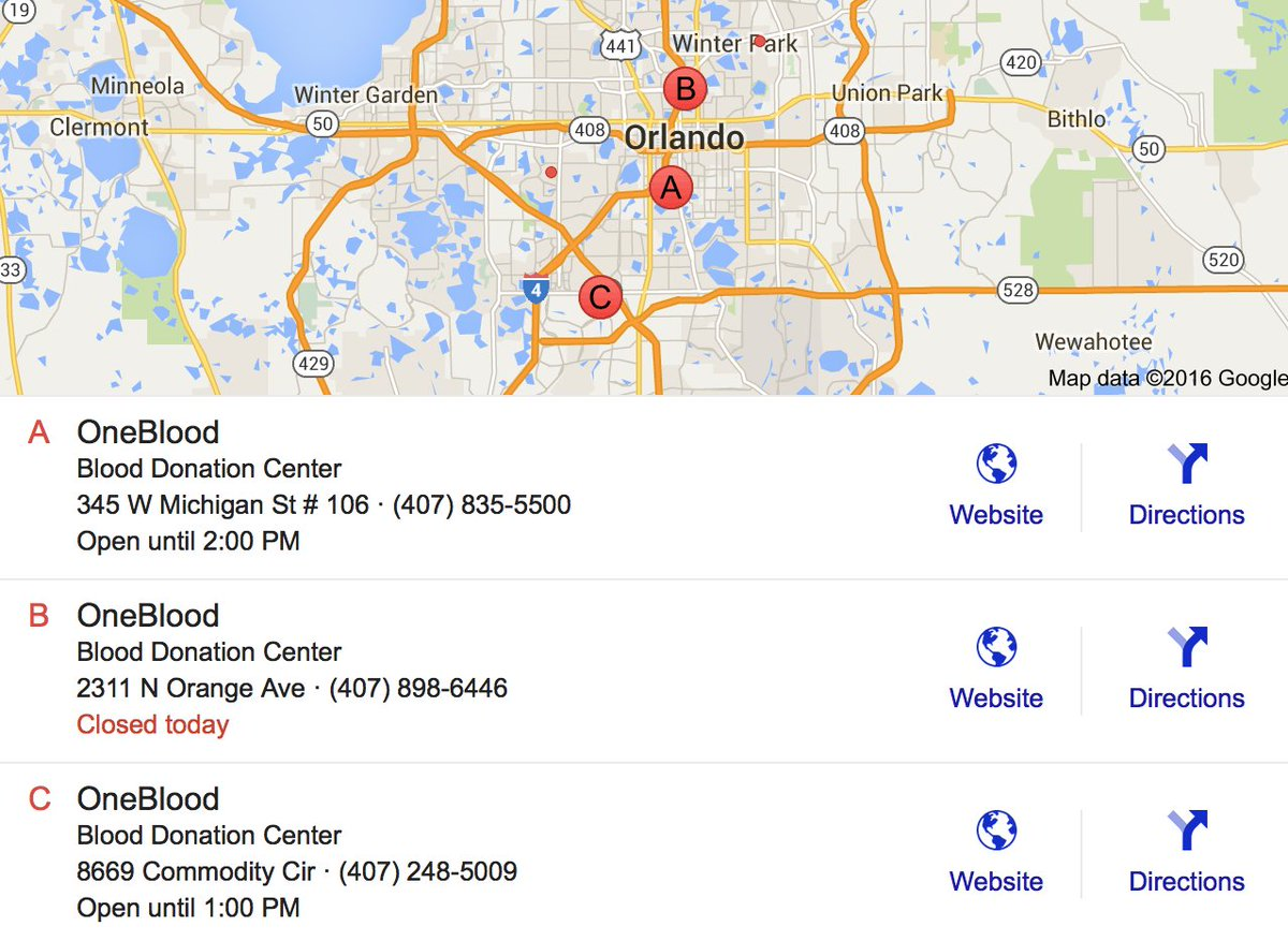 Their website is overloaded but here's a list of OneBlood donation centers in Orlando, FL. https://t.co/usEqapwS2O