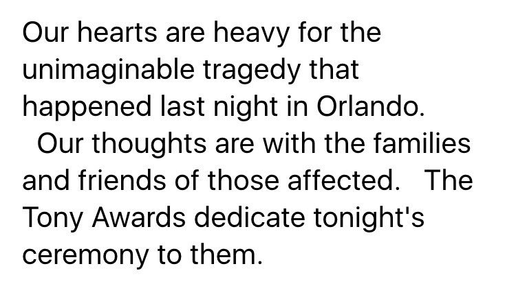 Breaking: Statement from @TheTonyAwards re Orlando massacre. https://t.co/H6KUhG2T6L