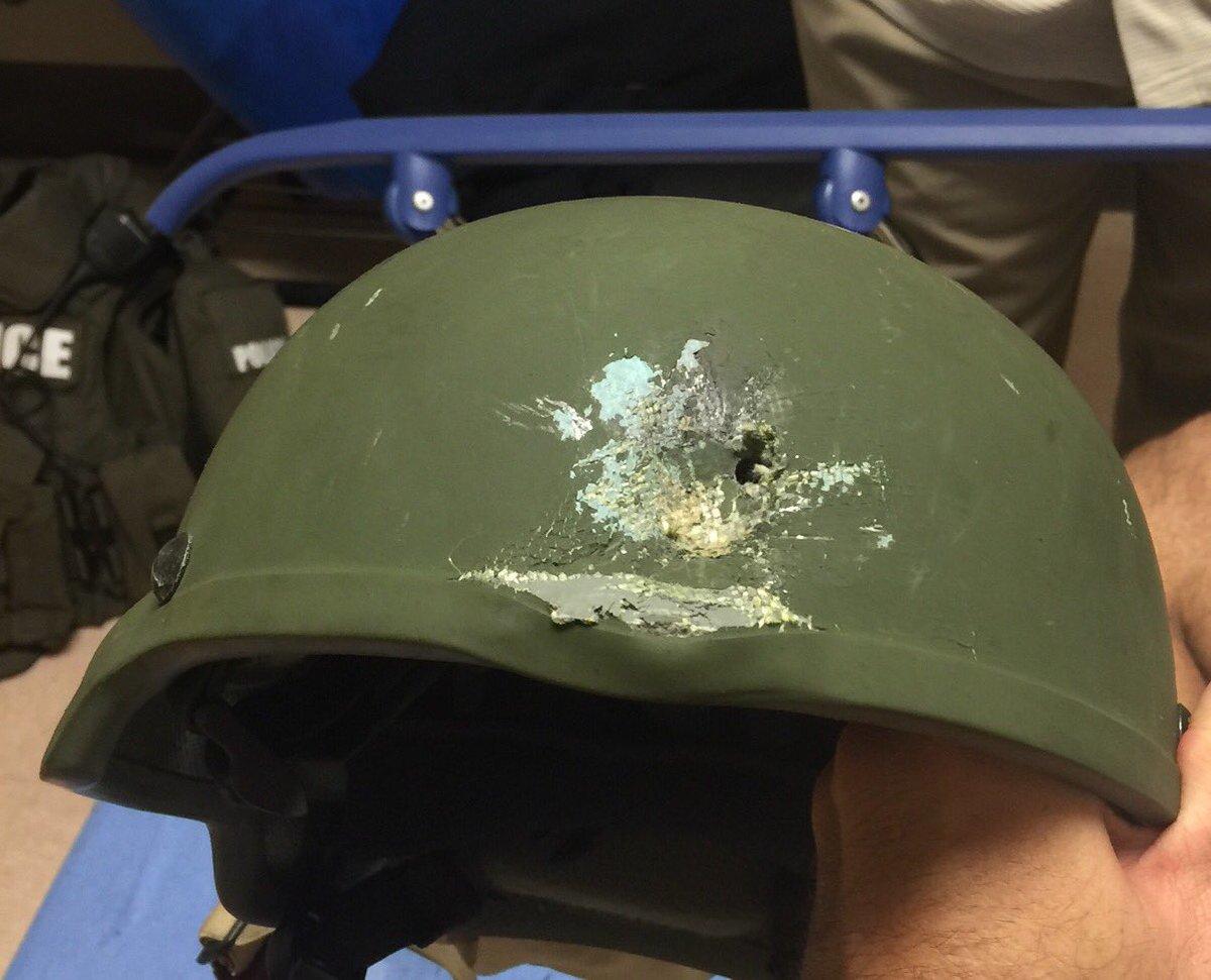 """Orlando PD releases image of OPD officer's kevlar helmet, hit during """"hail of gunfire"""" https://t.co/tTR4GDGPpj"""