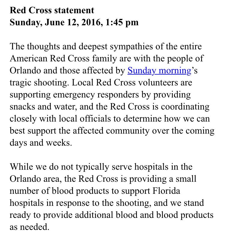 Local Red Cross says it has what it needs right now to respond to #Orlando but will need donations in coming days https://t.co/RcTVnQy8pt