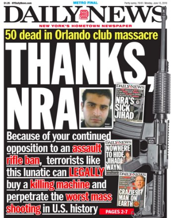 """""""Thanks NRA."""" Front page of tomorrow's @NYDailyNews  #Orlando #picks https://t.co/BSPGP4ibZ8"""