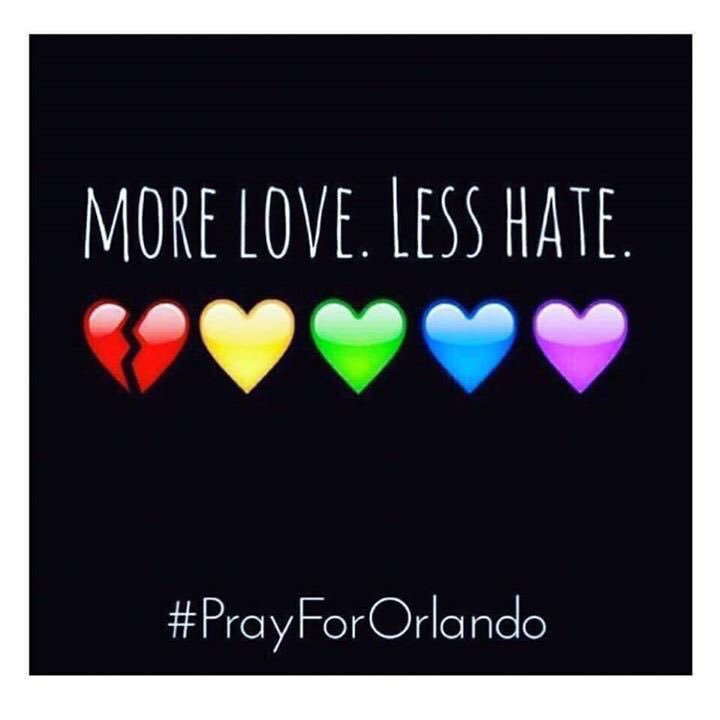 More love. Less hate.  #PrayForOrlando praying for anyone in our #Spoonie family who is touched by this tragedy. https://t.co/2cflmmVq9X