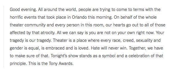 "James Corden's opening remarks at the #TonyAwards: ""Hate will never win"" https://t.co/ImTbj8I77w https://t.co/NJcTANyoV9"