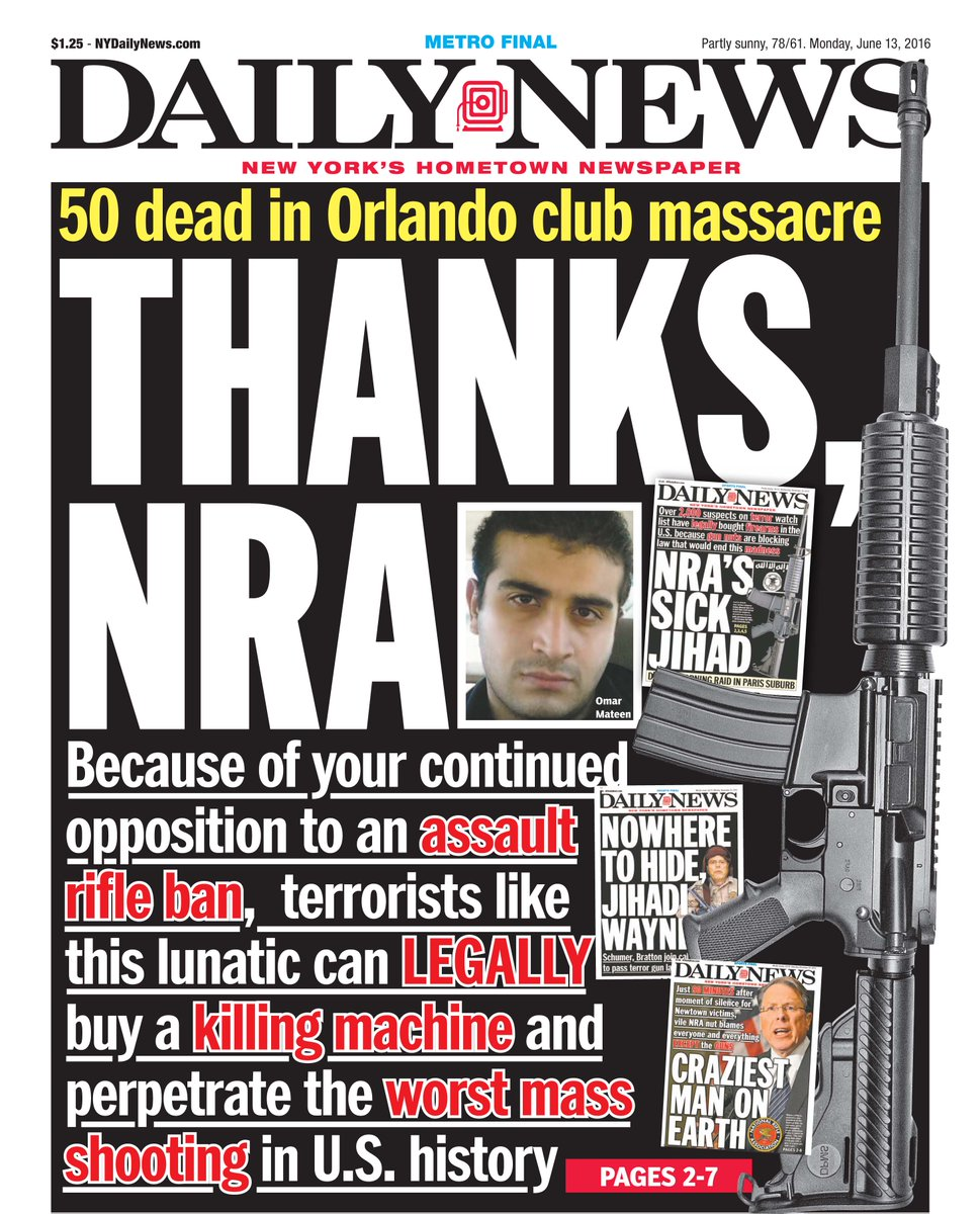 #Orlando front page @NYDailyNews, 6/13/16 https://t.co/m5t2f1KoS6