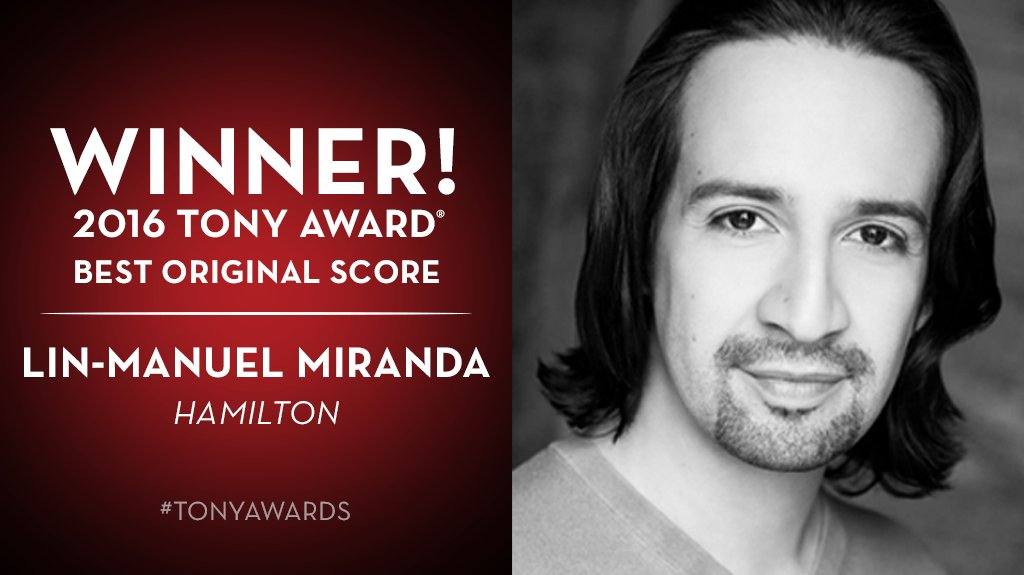 And the Tony goes to...@Lin_Manuel for @HamiltonMusical. #TonyAwards https://t.co/2XlZsUrlBr