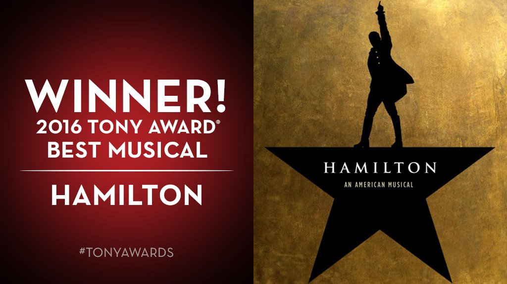 And the Tony goes to... @HamiltonMusical. #TonyAwards https://t.co/Us6N2YOESA