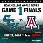 Chants vs. Wildcats. Game 1. Tonight - 7 p.m., ESPN  #CCUinOMAHA #CWS #CWSFinals https://t.co/SZh1gVIOCc