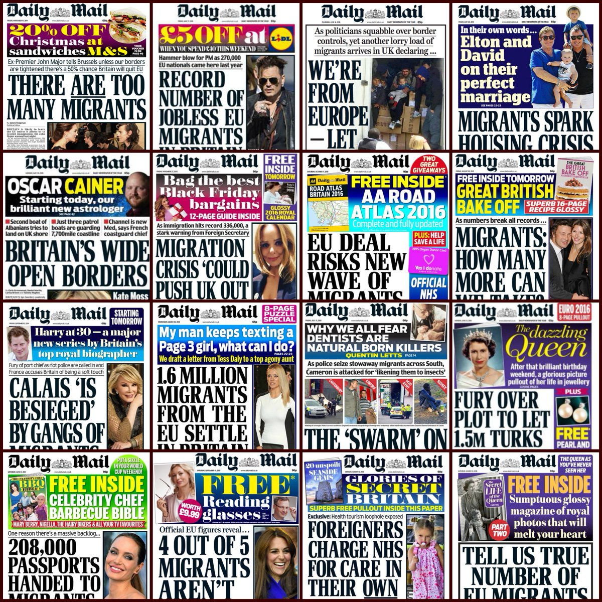 The Daily Mail reports there's been a spike in racist hate crime post-#Brexit  For context, here's some DM headlines https://t.co/WBjbZkeDgn