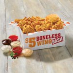 Get six wings, one side, one biscuit and a whole lot of Louisiana flavor with our $5 Boneless Wing Bash. https://t.co/mQsEDzbRFc