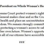Pres Obama issues statement on SCOTUS abortion decision. https://t.co/mcZgjlKkYH