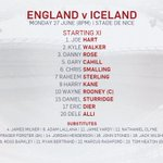 CONFIRMED: The official #ENG teamsheet for tonights #Euro2016 clash with #ISL https://t.co/HrBccwGxK9