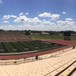 👍 Looking good! Real good! New turf and team logos in at Dick Bivins Stadium. #tipofcaptoAISD https://t.co/uoPJDGJogb