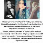 Hay una chica de San Fernando desparecida. No conozco a su familia pero no hace falta para imaginarse cómo está. https://t.co/ilxA035dJR
