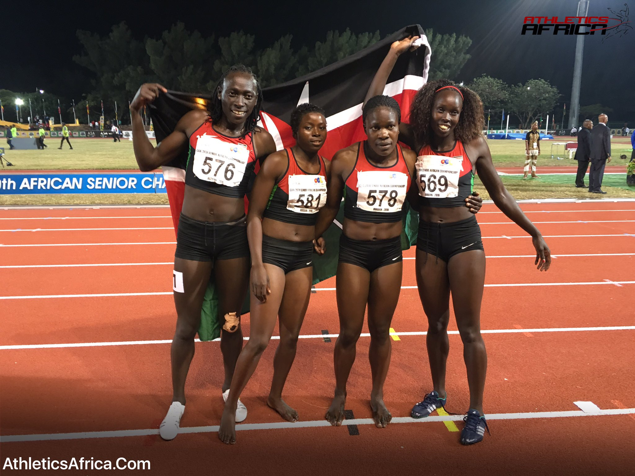 📸🇰🇪 Team #Kenya overtook #Botswana in last 80m to claim the Bronze medal in 3:30.21 at 20th African Champs in Durban https://t.co/f5I6o11agO