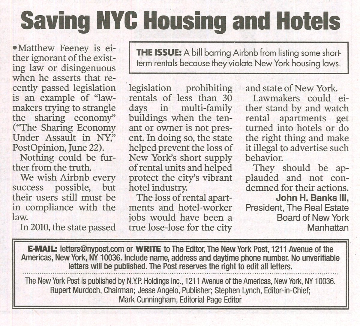 REBNY Pres John Banks speaks out in Letter to the Editor of  @nypost on @Airbnb, the law & #NYC housing crunch https://t.co/pgRrnLECuS