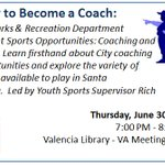 Learn how to become a coach! A Youth Sports Supervisor will be giving a talk Thurs 6/30, 7-8PM @ Valencia Library. https://t.co/VXBjpWTxPa