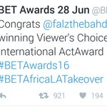 #BETAwards16: Falz won the Best International Act Award ???????????????? Falz rebranding Nigerias image! Congrats!???????????????? https://t.co/ucxWAX6wT2