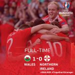 The whistle is blown.... QUARTER FINALS HERE WE COME!!!!! #WALNIR #TogetherStronger #EURO2016 https://t.co/ucLrfY06TV