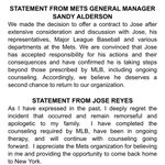Statements from Sandy Alderson and Jose Reyes on the reunion #Mets https://t.co/YrzuXEr7hL