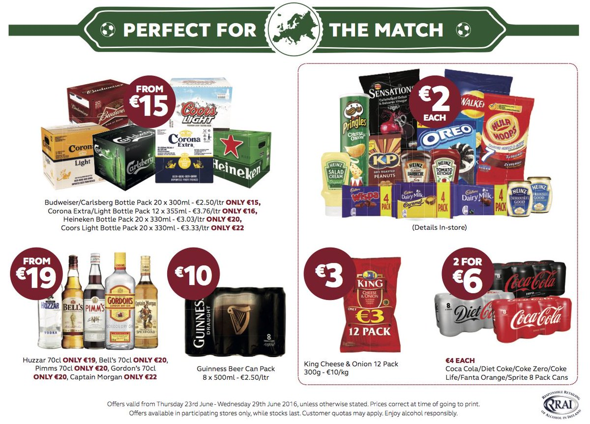 Roll Up, Roll Up Stock up with these great offers - Perfect for the Match. You won't be going anywhere tomorrow! https://t.co/Oewhh8mc0V