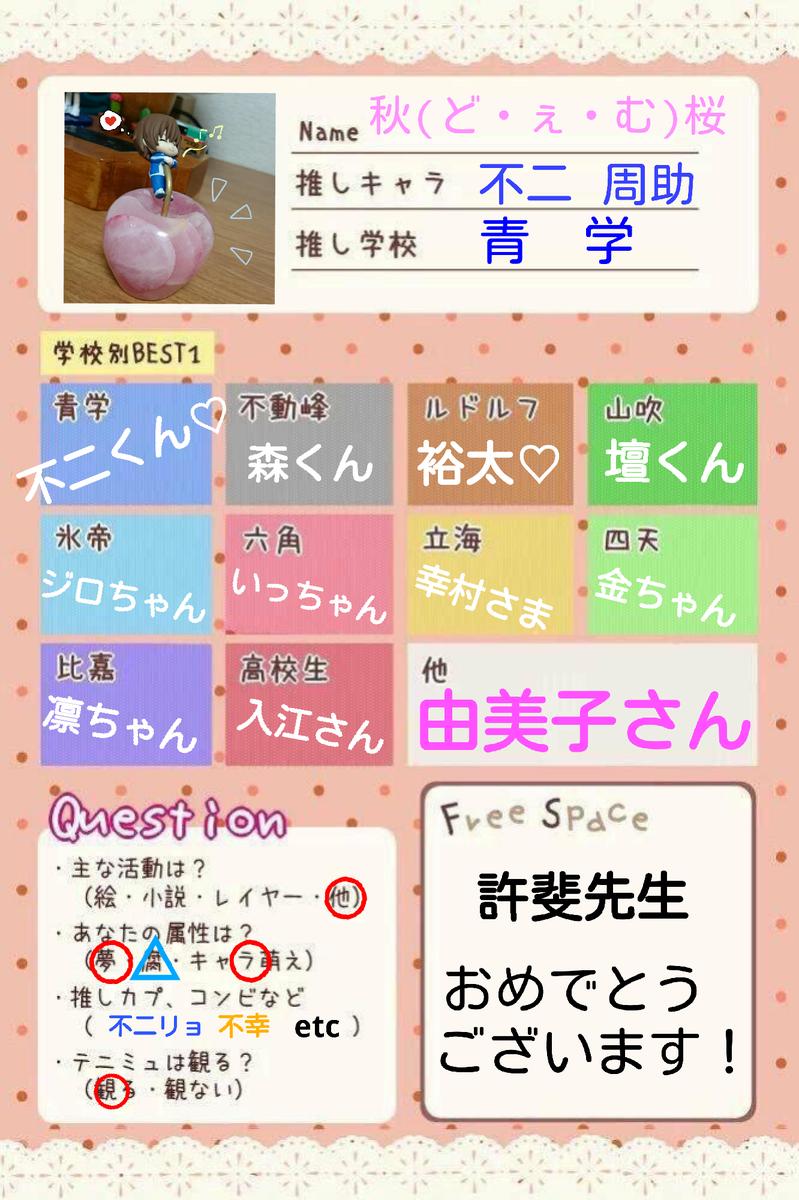 許斐先生お誕生日に乗っかる!! 秋桜(しゅお)と読みます