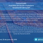 Posición de AAC sobre la Ampliación del Canal https://t.co/yH5D8ag2nW