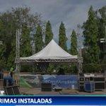 Tarimas instaladas en parque Miguel de Cervantes en Chiriquí para celebrar inauguración del Canal Ampliado. https://t.co/MR41pEIjU4
