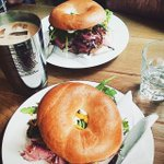 Our Sunday lunch! Pastrami, Swiss Cheese, Rocket, Mustard & Mayo on freshly baked bread/bagel #sheffieldissuper https://t.co/0yTTyds5o4