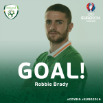 3: Robbie Brady sends Lloris the wrong way and it goes in off the post! What a start!! #COYBIG https://t.co/QZP7TySh0q
