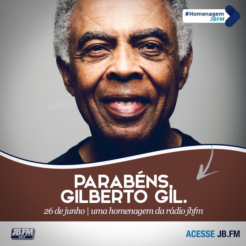 #GilbertoGil, o grande nome da nossa música brasileira está completando 74 anos hoje. Parabéns! Uma homenagem JBFM. https://t.co/BndVI0yjVz