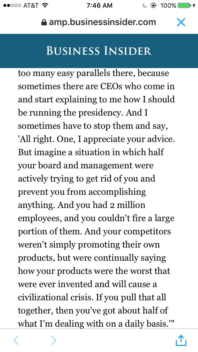 President Obama on the differences between running a country and a company: https://t.co/Jt9k8yzeTD https://t.co/A9cVE8fm2n