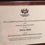 Congrats .@AuburnUs own .@jaenah for winning the 2016 David Cohen/EMIERT multicultural award. #WAREAGLE #AUTogether https://t.co/ehMt8LJF74