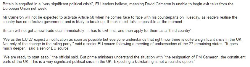 """EU sources say UK can delay Art 50 as it faces """"very significant"""" crisis with lack of government and break up of UK https://t.co/l6ORjwdVlL"""